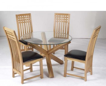 Ophelia Round Glass Dining Table and Mirelle Chairs