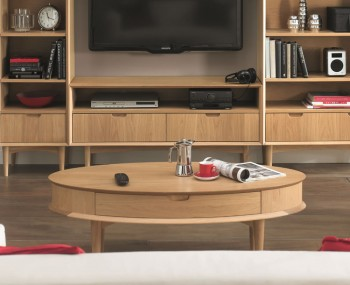 Orbit Oak Coffee Table with Drawer