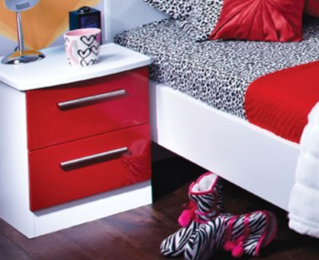 Danni Red Teens 2 Drawer Bedside Chest