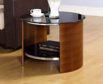 Zennor Round Walnut and Glass Lamp Table