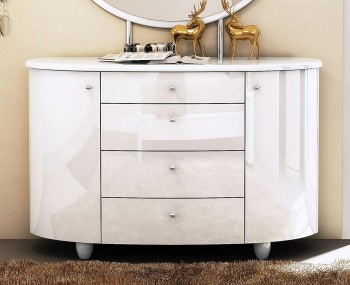 Genova White 4 Drawer Chest with Mirror