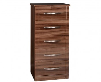 Lazio 5 Drawer Narrow High Gloss Chest