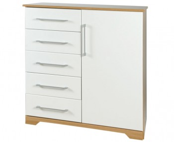 Chiltern 5 Drawer Combi White & Oak Effect Chest