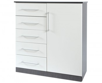 Havana White 5 Drawer Combi Fronted Chest