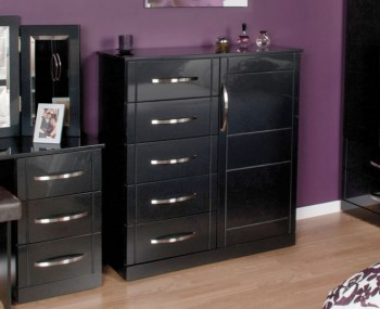 Dari Black High Gloss 5 Drawer Combi Chest