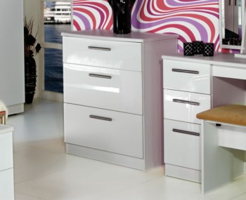 Queen 3 Drawer Deep White High Gloss Chest