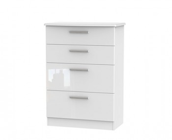 Queen 4 Drawer White High Gloss Chest