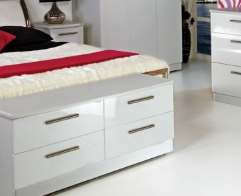 Queen 4 Drawer White High Gloss Bed Box Chest