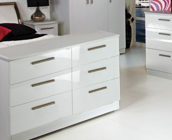 Queen 6 Drawer Wide White High Gloss Chest