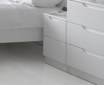 Trend 2 Drawer White High Gloss Bedside Chest