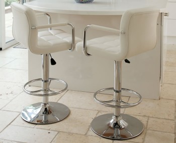 Pinecrest White Gas Lift Bar Stool