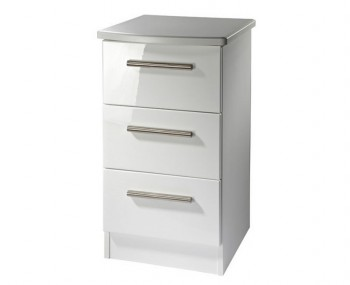 Queen 3 Drawer White High Gloss Bedside Chest