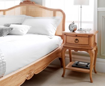 Grace Solid Oak Rattan Bed Frame