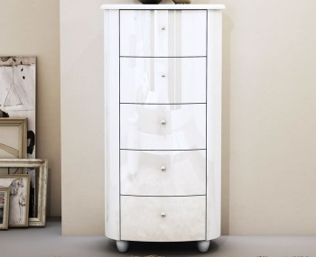 Genova White 5 Drawer Narrow Chest