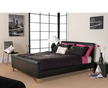 Veroli Black Faux Leather Bedstead