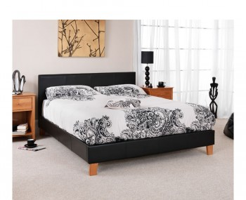Cervaro Black Faux Leather Bedstead