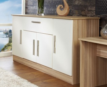 Pravia Vanilla 4 Door 1 Drawer Sideboard