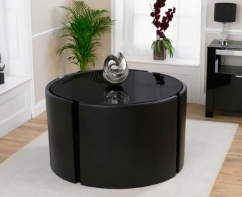 Newton Black High Gloss Round Dining Table and Chairs