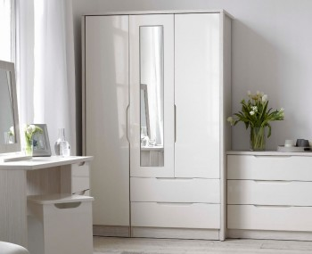 Affinity 3 Door 2 Drawer High Gloss Wardrobe