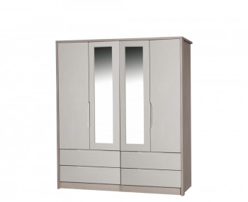 Affinity 4 Door 4 Drawer High Gloss Wardrobe With Mirrors