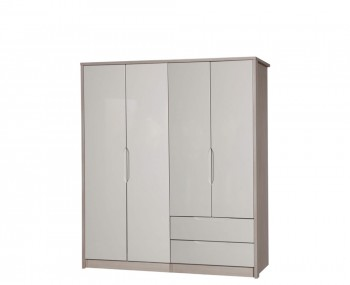 Affinity 4 Door High Gloss Regular Wardrobe Combo