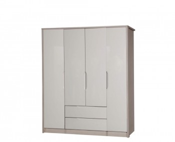 Affinity 4 Door High Gloss Single Wardrobe Combo