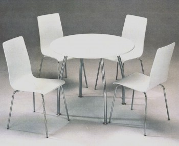Dove Round White Breakfast Table and Chairs