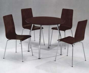 Tobago Round Walnut Breakfast Table and Chairs