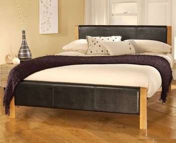 Delilah Black Faux Leather Bedstead