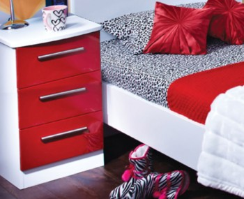 Danni Red Teens 3 Drawer Bedside Chest