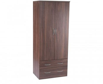 Tara 2 Door 2 Drawer Walnut Wardrobe