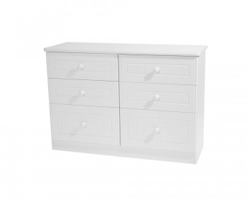 Warwick 6 Drawer Wide White Chest