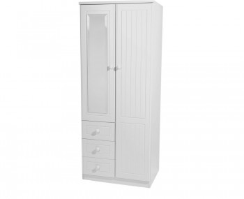Warwick 2 Door Combi White Wardrobe