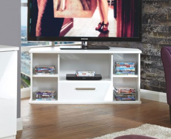 Vista White High Gloss Corner TV Unit
