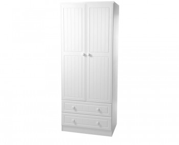 Warwick 2 Door 2 Drawer Tall White Wardrobe