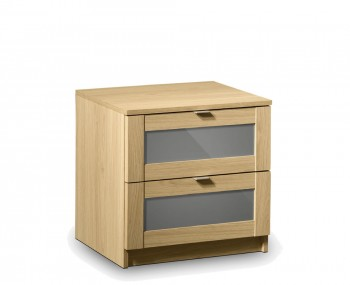 Allegro Oak and Grey Gloss 2 Drawer Bedside Chest