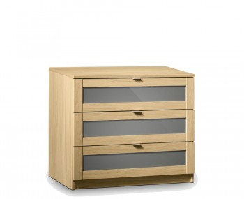 Allegro Oak and Grey Gloss 3 Drawer Chest