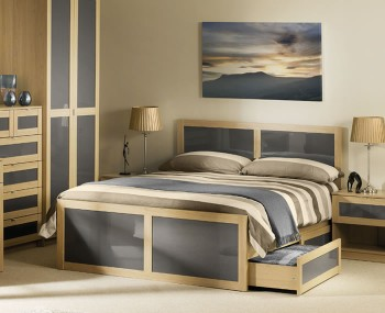 Allegro Oak and Grey Gloss Bed Frame