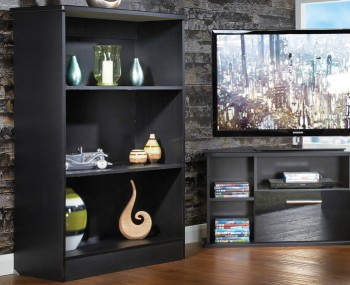 Vista Black Wooden Bookcase