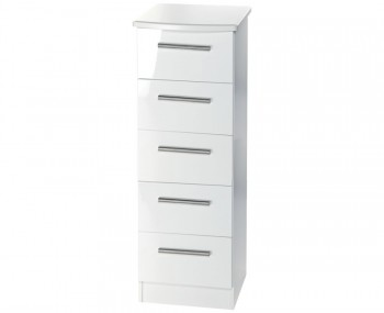 Queen 5 Drawer Narrow White High Gloss Chest