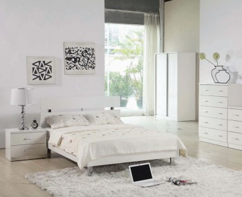Theo White High Gloss Bedstead