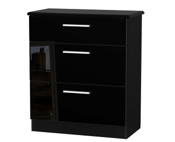 Knight Black High Gloss 3 Drawer Deep Chest
