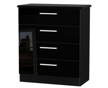Knight Black High Gloss 4 Drawer Chest