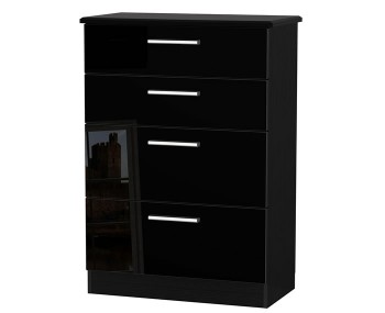 Knight Black High Gloss 4 Drawer Deep Chest