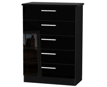 Knight Black High Gloss 5 Drawer Chest