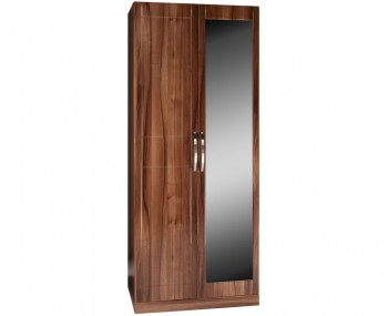Lazio 2 Door High Gloss Wardrobe with Mirror