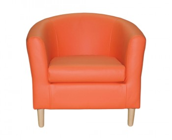 Hamlet Orange Faux Leather Tub Chair