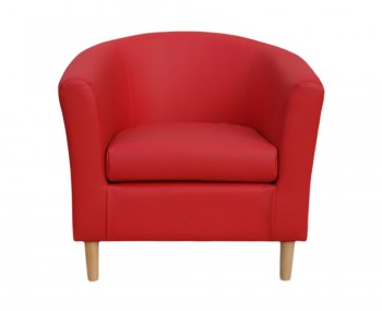 Hamlet Red Faux Leather Tub Chair