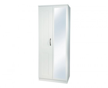 Amazon White 2 Door Wooden Tall Wardrobe with Mirror