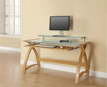 Penzance Oak and Glass Computer Desk